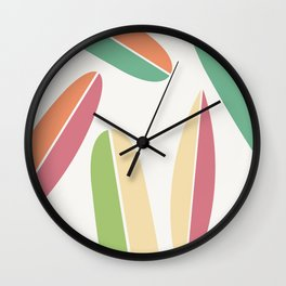 Abstract Retro Color Surfboards Wall Clock
