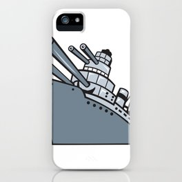 Cartoon Battleship With Big Guns iPhone Case