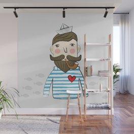 Lovely Bearded Sailor Man Illustration Wall Mural