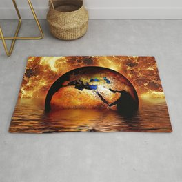 Planet Earth Globe magical realism portrait of ocean and gold fiery sky portrait Rug