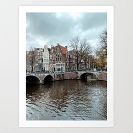 Canal Houses in Amsterdam The Netherlands | Cityscape Buildings Bridge Architecture Art Print Art Print