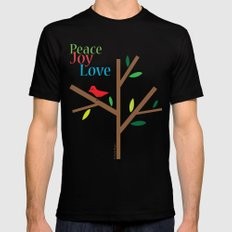 Peace Joy Love SMALL Black Mens Fitted Tee