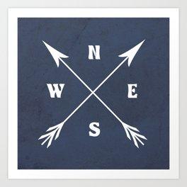 Compass arrows Art Print