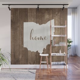Ohio is Home - White on Wood Wall Mural