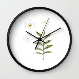 Beautiful White Floral Flowers Minimalist Arrangement With Green Leaf Stem Photography Botanical Art Wall Clock