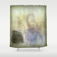 cooking Shower Curtains featuring Two Women and their Cooking Pot by Jessielee
