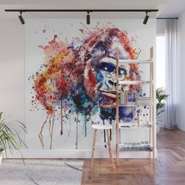 Gorilla Watercolor portrait Wall Mural