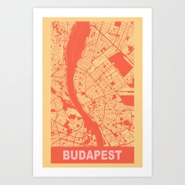 Budapest, Hungary, city map, Golden Yellow Art Print