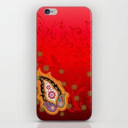 red jewel paisley border iPhone Skin