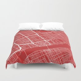 Detroit Map, USA - Red Duvet Cover