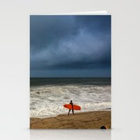surfboard Stationery Cards featuring Orange Surfboard by PACIFIC OBLIVION