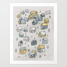 First day of snow Art Print