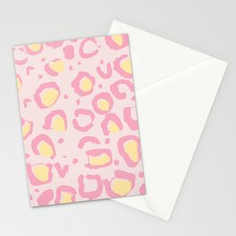 Leopard Skin Inspire Pattern Pink and Yellow Stationery Cards