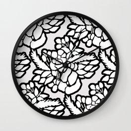 Floral Pattern Black/Grey/White Wall Clock