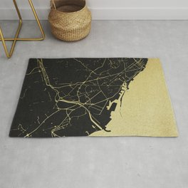 Barcelona Black and Gold Map Rug