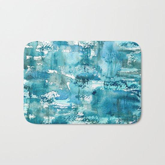 Turquoise blue passion || watercolor Bath Mat