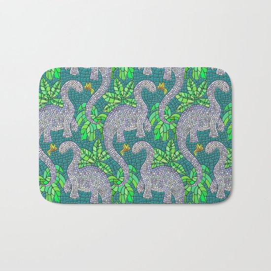 Mosaic Dinosaurs and Hummingbirds Bath Mat