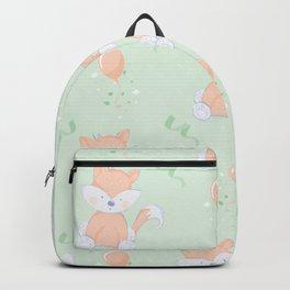 Happy Birthday Orange Fox on Green Background Pattern Backpack
