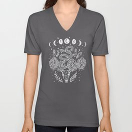 Gothic Snakes And Crystals Moon Phases Unisex V-Neck