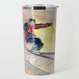 Colorful Skiing Art Travel Mug