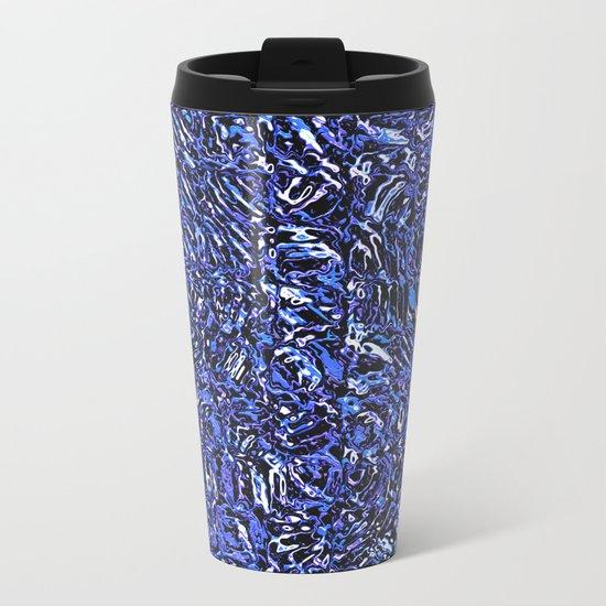 Blue Glass Abstract Metal Travel Mug