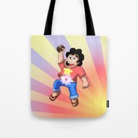 steven universe Tote Bags featuring STEVEN UNIVERSE by DROIDMONKEY