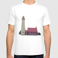Lighthouse  MEDIUM White Mens Fitted Tee