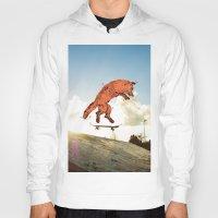 skateboard Hoodies featuring Skateboard FOX! by Jesse Robinson Williams