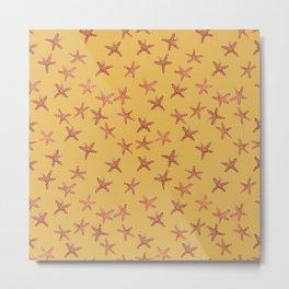Gold Starfish Hand-Painted Watercolor Metal Print
