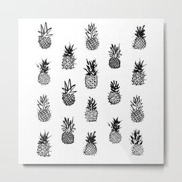 Ink Pineapples Metal Print