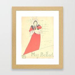 "Henri de Toulouse-Lautrec ""May Belfort"" Framed Art Print"