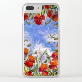 Red flowers poppies poppy flower landscape sping floral field in grass in shape of heart backgroud Clear iPhone Case
