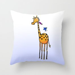 Ski Jumping on a Giraffe  Throw Pillow