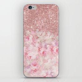 Girly pink boho floral rose gold glitter iPhone Skin