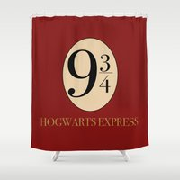 hufflepuff Shower Curtains featuring HARRY POTTER by Sophie