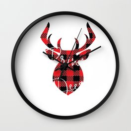 Prince Deer Christmas Pajama Red Plaid Buffalo Matching design Wall Clock