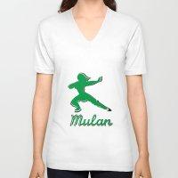 mulan V-neck T-shirts featuring Mulan by husavendaczek