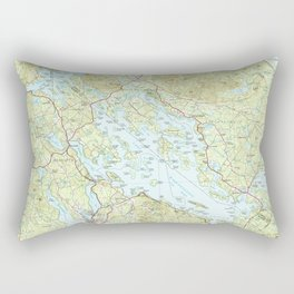 Lake Winnipesaukee Map (1986) Rectangular Pillow