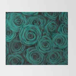 emerald green roses Throw Blanket