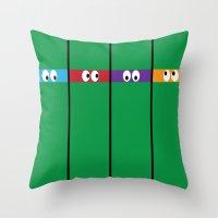 ninja turtles Throw Pillows featuring Teenage Mutant Ninja Turtles by Jennifer Agu
