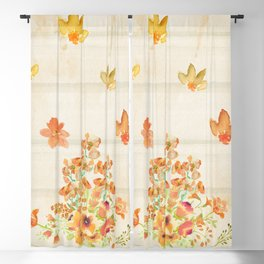 Autumn Flowers in Watercolor Blackout Curtain