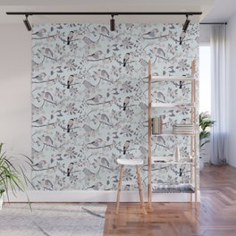Blossom and Birds Cool Grey Tones Print Wall Mural