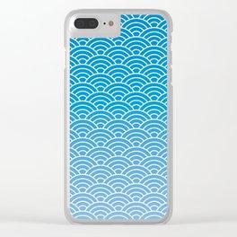 Seigaiha Gradient Blue Clear iPhone Case