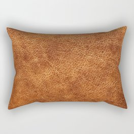 Brown vintage faux leather background Rectangular Pillow