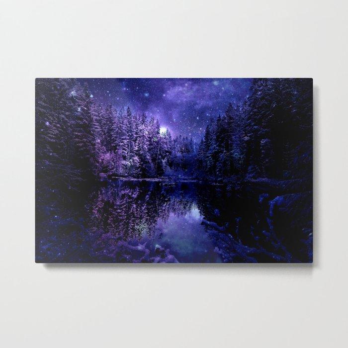Winter Forest Deep Purple Indigo Blue Metal Print