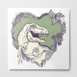 T-Rex Heart - Green & Purple Metal Print