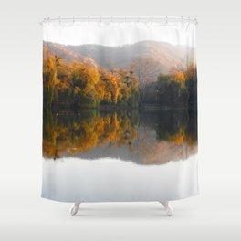 Autumn landscape on the lake. Shower Curtain