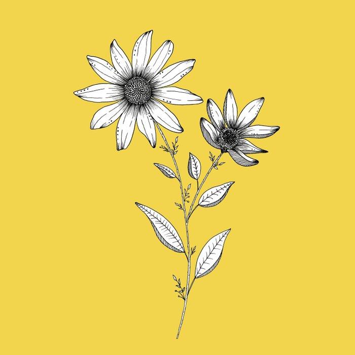 Wildflower line drawing   Botanical Art Duvet Cover