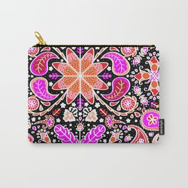 Pysanky Paisley Floral in Black Carry-All Pouch