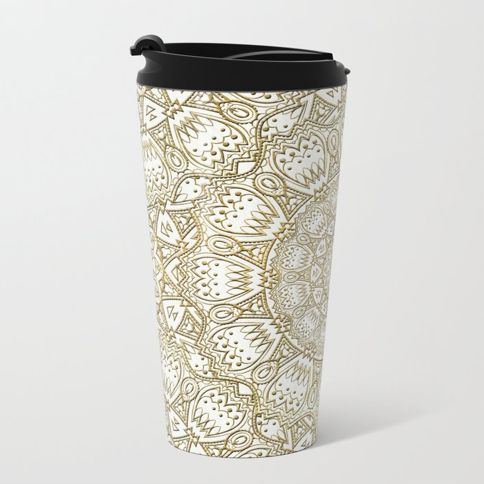 Golden Mandala in Cream Colored Background Metal Travel Mug